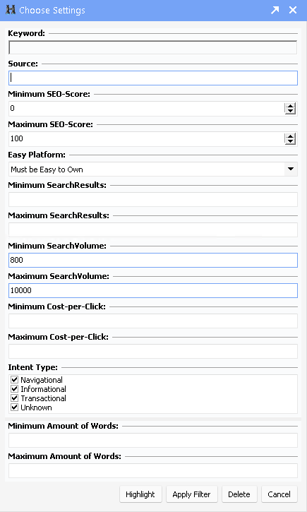 software screen showing the keyword filtering options